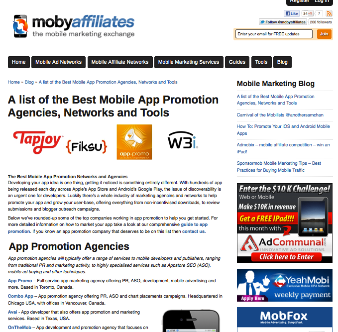 mobyaffiliate best mobile app promotion agency