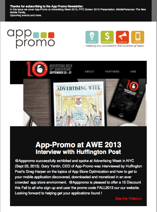 AppPromo fall newsletter